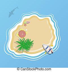 parapluie, pont, île, deux, chaise, plage