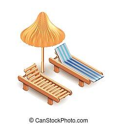 parapluie, pont, isolé, vecteur, chaise, plage, blanc