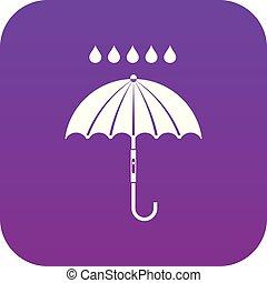 parapluie, pourpre, pluie, numérique, gouttes, icône