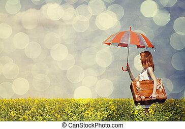 parapluie, printemps, field., rapeseed, valise, roux, enchanteresse