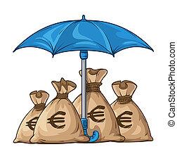 parapluie, protéger, dollar, devise argent, sacs