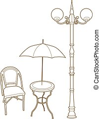parapluie, réverbère, sous, chaise