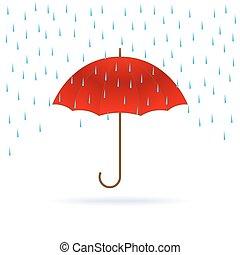 parapluie, rain., rouges