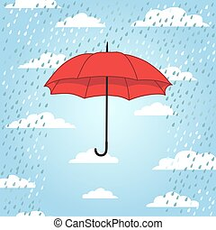 parapluie, romantique, carte, rai