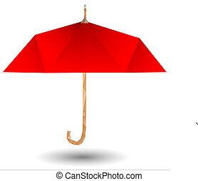 parapluie, rouges, icône