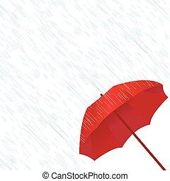 parapluie, rouges, pluie