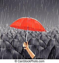 parapluie, rouges, pluie, sous