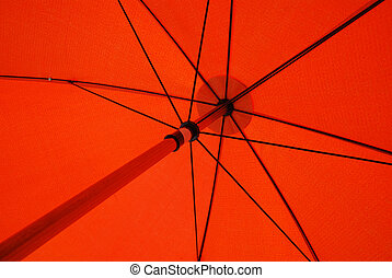 parapluie, rouges, sous
