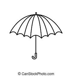 parapluie, silhouette, ouvert, noir