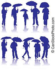parapluie, silhouettes, vecteur, enfant, homme, femmes