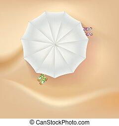 parapluie, soleil, arrière-plan., plage sable, pantoufles