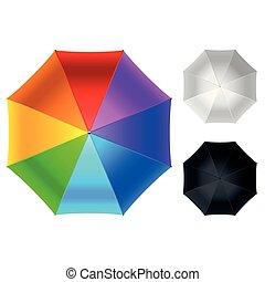 parapluie, sommet coloré, isolé, illustration, vecteur, blanc, vue