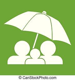 parapluie, sous, vert, famille, icône