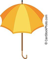 parapluie, style, isométrique, icône, jaune