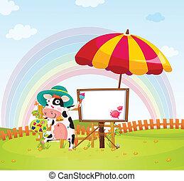 parapluie, vache