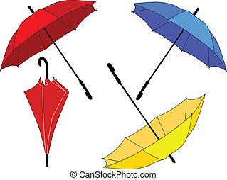 parapluie, vecteur, -, collection