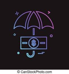 parapluie, vecteur, conception, icône