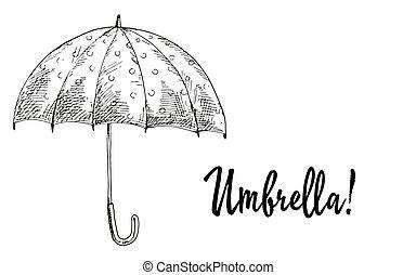 parapluie, vecteur, contoured., ouvert