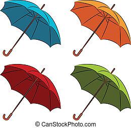 parapluie, vecteur, ensemble