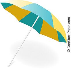 parapluie, vecteur, plage, illustration