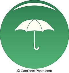 parapluie, vecteur, vert, icône