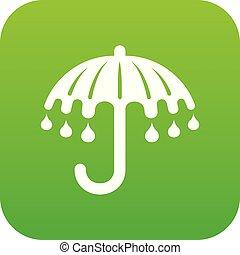 parapluie, vecteur, vert, mouillé, icône