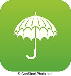 parapluie, vecteur, vert, ouvert, icône