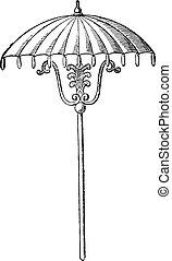 parapluie, vendange, engraving.