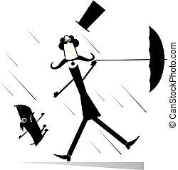 parapluie, vent, premier chien, illustration, fort, chapeau, moustache, homme