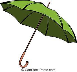 parapluie vert, dessin animé, icône
