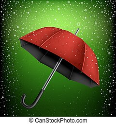 parapluie, vert, neige, fond