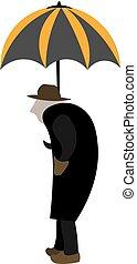 parapluie, vieux, illustration., couleur, vecteur, ou, homme