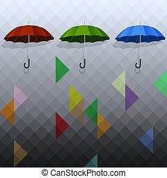 parapluies, géométrique, arrière-plan coloré