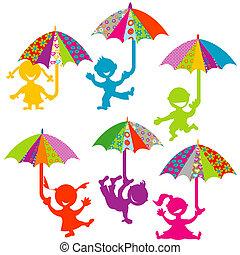 parapluies, gosses, arrière-plan coloré, jouer