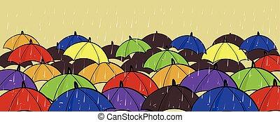 parapluies, individualité, dehors, stand, copie, coloré, différent, concept, espace, foule, beaucoup, unique