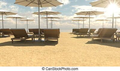 parapluies, vide, bois, chaises plage, pont