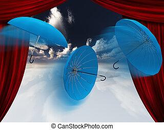 paraplu's, en, gordijnen