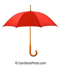 paraply, öppnat, röd