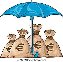 paraply, beskyddande, sparken, med, pengar valuta, dollar