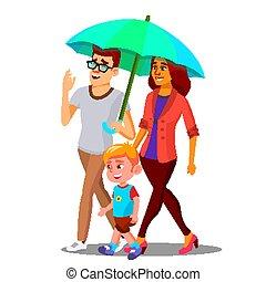 paraply, holdingen, över, regna, föräldrar, illustration, vector., barn