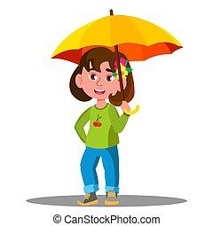 paraply, isolerat, gul, glad, illustration, vector., barn, regna
