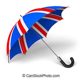 paraply, med, brittisk flagga