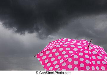 paraply, med, skumma skyar