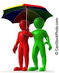 paraply, två, man