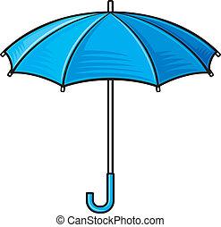 paraply, umbrella), öppna, (blue