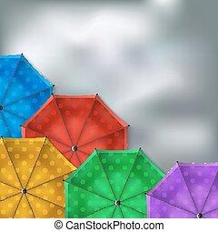 paraplyer, färgad fond