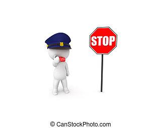 parar la muestra, director de tráfico, luego, 3d