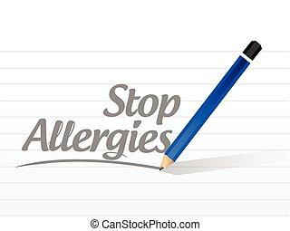 parar la muestra, mensaje, alergias