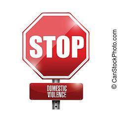 parar la violencia, doméstico, ilustración, señal, camino