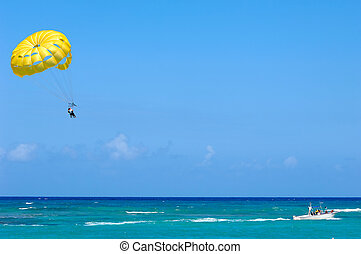 parasailing, 上に, カリブ海, sea.